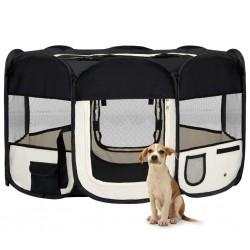 stradeXL Składany kojec dla psa, z torbą, czarny, 145x145x61 cm