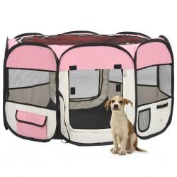 stradeXL Składany kojec dla psa, z torbą, różowy, 110x110x58 cm