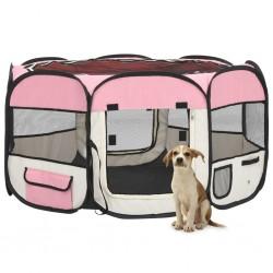 stradeXL Składany kojec dla psa, z torbą, różowy, 125x125x61 cm