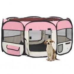 stradeXL Składany kojec dla psa, z torbą, różowy, 145x145x61 cm