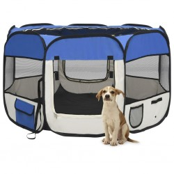 stradeXL Składany kojec dla psa, z torbą, niebieski, 110x110x58 cm