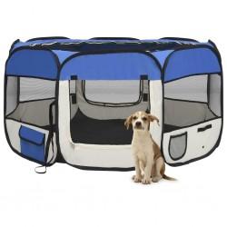 stradeXL Składany kojec dla psa, z torbą, niebieski, 125x125x61 cm