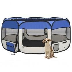 stradeXL Składany kojec dla psa, z torbą, niebieski, 145x145x61 cm