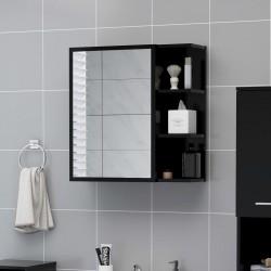 stradeXL Szafka z lustrem, czarna, 62,5 x 20,5 x 64 cm, płyta wiórowa