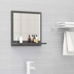 stradeXL Lustro łazienkowe, wysoki połysk, szare, 40x10,5x37 cm, płyta