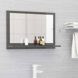 stradeXL Lustro łazienkowe, szare, wysoki połysk, 60x10,5x37 cm, płyta