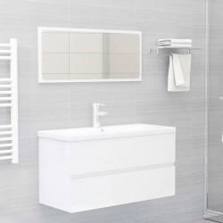 stradeXL 2-cz. zestaw mebli łazienkowych, biały, wysoki połysk, płyta