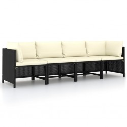 stradeXL 4-osobowa sofa ogrodowa z poduszkami, polirattan, czarna