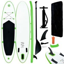 stradeXL Nadmuchiwana deska SUP z akcesoriami, zielono-biała