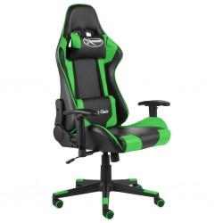 stradeXL Obrotowy fotel gamingowy, zielony, PVC