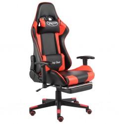 stradeXL Obrotowy fotel gamingowy z podnóżkiem, czerwony, PVC