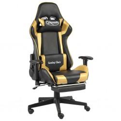 stradeXL Obrotowy fotel gamingowy z podnóżkiem, złoty, PVC