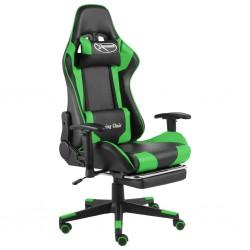 stradeXL Obrotowy fotel gamingowy z podnóżkiem, zielony, PVC