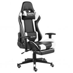 stradeXL Obrotowy fotel gamingowy z podnóżkiem, biały, PVC