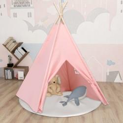 stradeXL Namiot dziecięcy tipi, z torbą, peach skin, róż, 120x120x150 cm