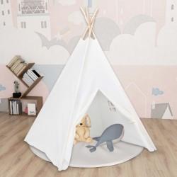 stradeXL Biały namiot dziecięcy tipi, z torbą, peach skin, 120x120x150cm
