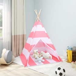 stradeXL Dziecięcy namiot tipi, torba, peach skin, paski, 120x120x150 cm