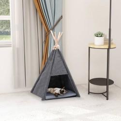 stradeXL Namiot tipi dla kota, z torbą, aksamitny, czarny, 40x40x70 cm