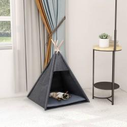 stradeXL Namiot tipi dla kota, z torbą, aksamitny, czarny, 60x60x70 cm