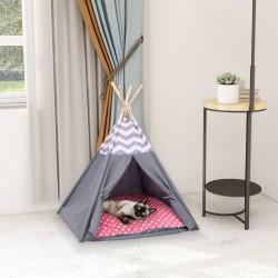 stradeXL Namiot tipi dla kota, z torbą, peach skin, szary, 60x60x70 cm