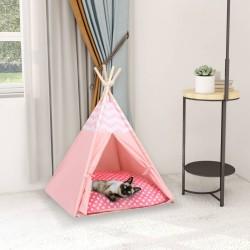 stradeXL Namiot tipi dla kota, z torbą, peach skin, różowy, 60x60x70 cm
