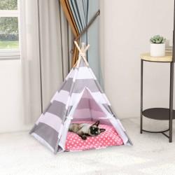 stradeXL Namiot tipi dla kota, z torbą, peach skin, w paski, 60x60x70 cm