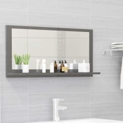 stradeXL Lustro łazienkowe, szare, wysoki połysk, 80x10,5x37 cm, płyta