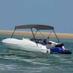 stradeXL Bimini, daszek do łodzi z 2 pałąkami, antracyt, 180x150x110 cm