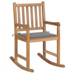 stradeXL Fotel bujany z szarą poduszką, lite drewno tekowe
