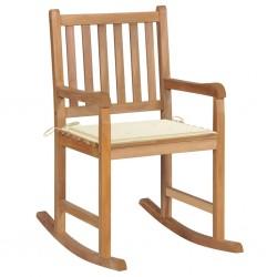 stradeXL Fotel bujany z kremową poduszką, lite drewno tekowe