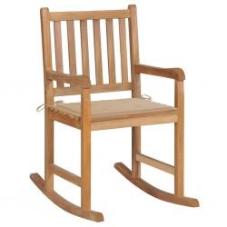 stradeXL Fotel bujany z beżową poduszką, lite drewno tekowe