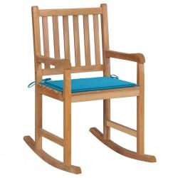 stradeXL Fotel bujany z niebieską poduszką, lite drewno tekowe