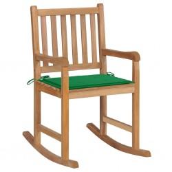 stradeXL Fotel bujany z zieloną poduszką, lite drewno tekowe