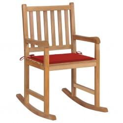 stradeXL Fotel bujany z czerwoną poduszką, lite drewno tekowe