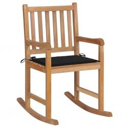 stradeXL Fotel bujany z czarną poduszką, lite drewno tekowe