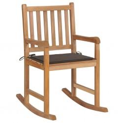 stradeXL Fotel bujany z poduszką w kolorze taupe, lite drewno tekowe