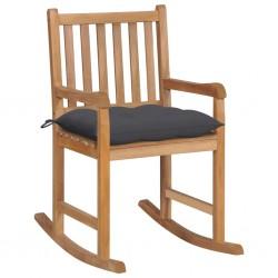 stradeXL Fotel bujany z antracytową poduszką, lite drewno tekowe