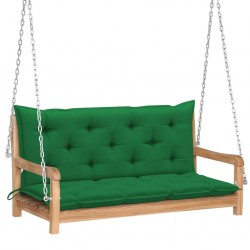 stradeXL Huśtawka ogrodowa z zieloną poduszką, 120 cm, drewno tekowe