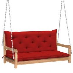 stradeXL Huśtawka ogrodowa z czerwoną poduszką, 120 cm, drewno tekowe