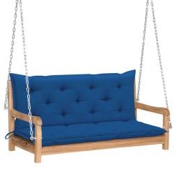 stradeXL Huśtawka ogrodowa z niebieską poduszką, 120 cm, drewno tekowe