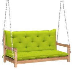 stradeXL Huśtawka ogrodowa z jasnozieloną poduszką, 120cm, drewno tekowe