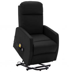 stradeXL Podnoszony, rozkładany fotel masujący, czarny, sztuczna skóra