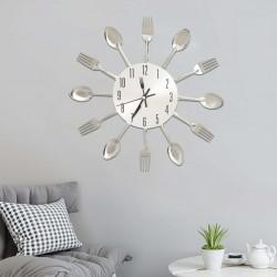 stradeXL Zegar ścienny z łyżek i widelców, srebrny, 31 cm, aluminium