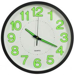 stradeXL Fluorescencyjny zegar ścienny, czarny, 30 cm