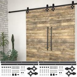 stradeXL System do montażu drzwi przesuwnych, 2szt., 183cm, stal, czarny