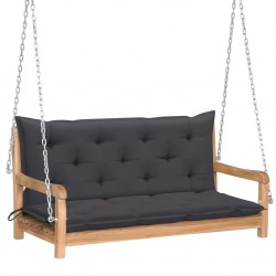 stradeXL Huśtawka ogrodowa z antracytową poduszką, 120 cm, drewno tekowe