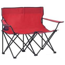 stradeXL 2-os., składane krzesło turystyczne, stal i tkanina, czerwone