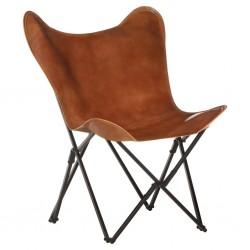 stradeXL Składane krzesło motyl, brązowe, skóra naturalna