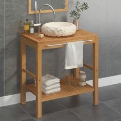 stradeXL Szafka łazienkowa z marmurową, kremową umywalką, drewno tekowe