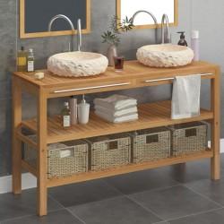 stradeXL Szafka łazienkowa z 2 umywalkami z marmuru, drewno tekowe